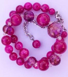 pink vintage aurora borealis necklace