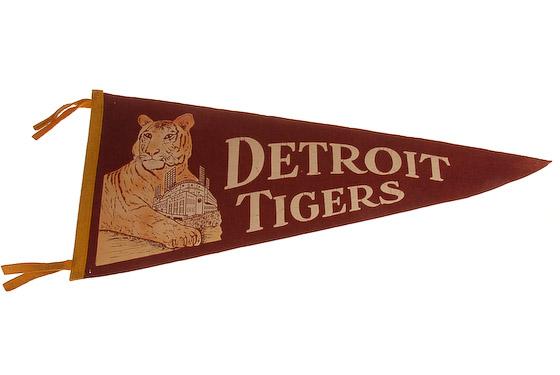 vintage detroit tigers briggs stadium pennant
