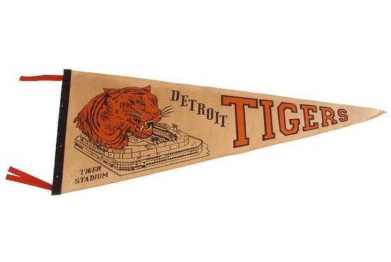 Vintage Detroit Tiger Stadium pennant