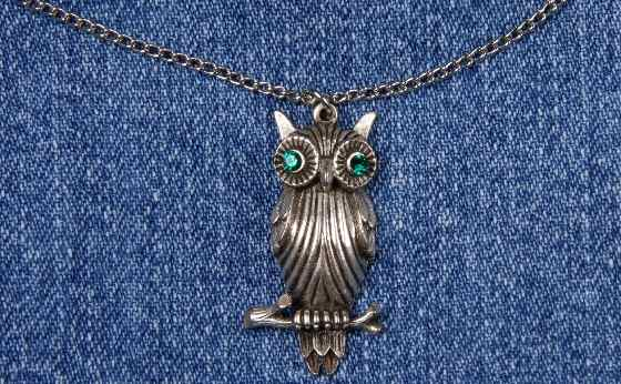 vintage owl necklace rhinestone