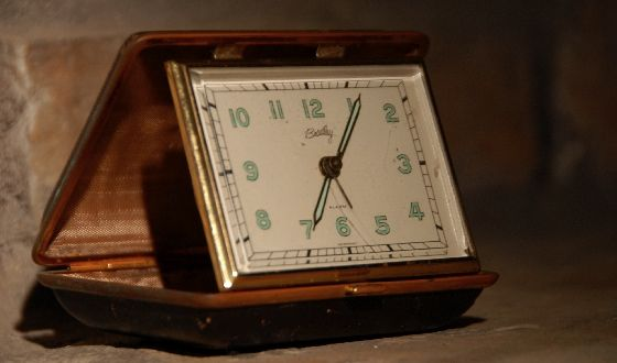vintage windup alarm clock travel