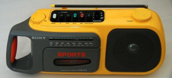 yellow boombox vintage sony cfm-104