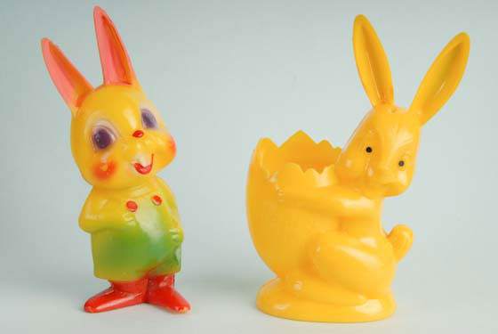 Rosbro rabbit yellow plastic Easter candy container standing next to Corwin bunny